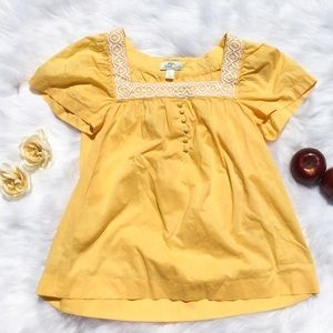 Loft Yellow Short Sleeve White Embroidered Top